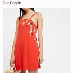 Free People Orange Embroidered Mini Dress
